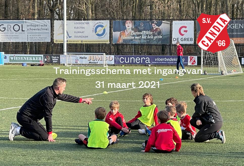 Trainingsschema per 31 maart 2021