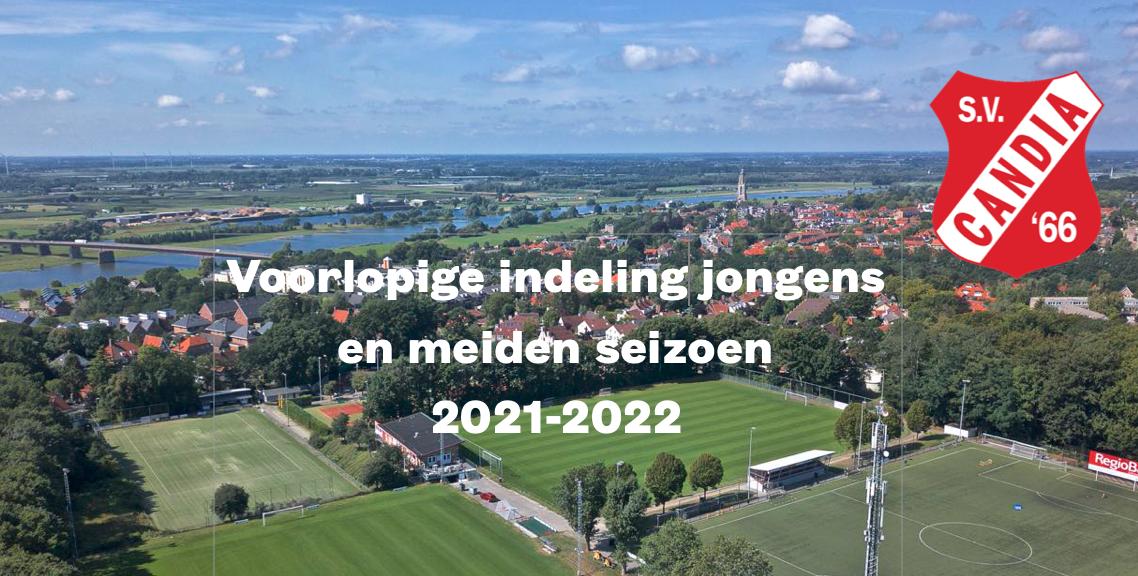 Voorlopige indelingen jeugd seizoen 2021-2022